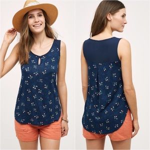 Anthropologie Mai Floral Navy Tank Top